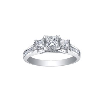 3 Stone Princess- Cut Diamond Engagement Ring