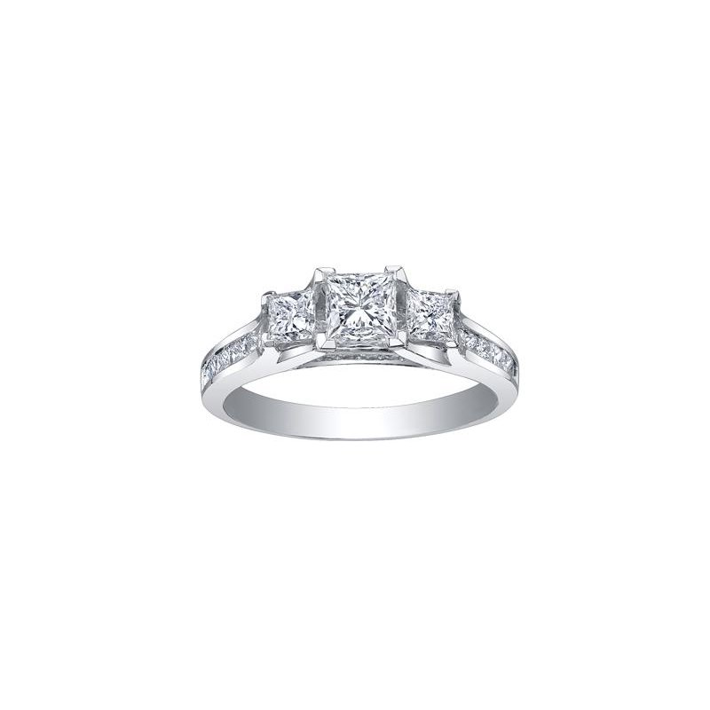 Maple Leaf Diamonds 3 Stone Princess- Cut Diamond Engagement Ring