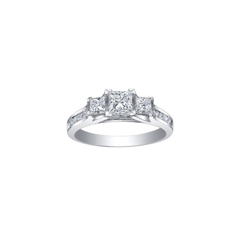 Maple Leaf Diamonds 3 Stone Princess- Cut Diamond Engagement Ring