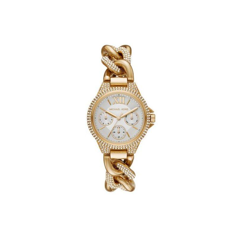 Michael Kors Mini Camille Pavé Gold-Tone Curb-Link Watch