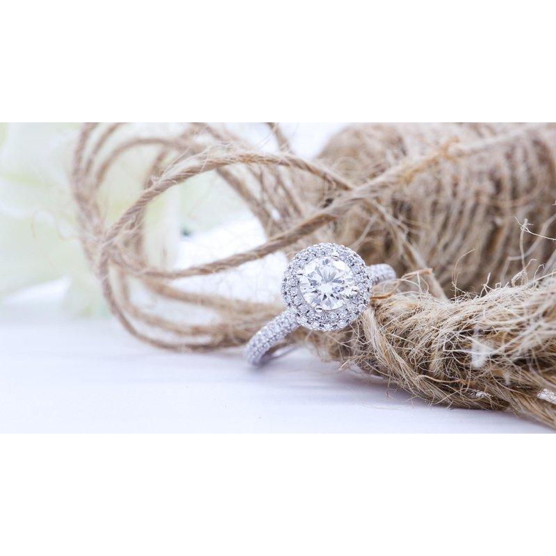 Maple Leaf Diamonds Round Halo Engagement Ring
