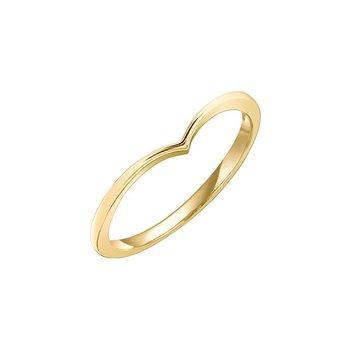 'V' Shaped Yellow Gold Diamond Ring
