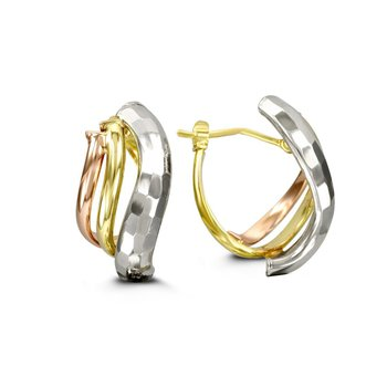 Tri-Gold Three Strand Hoops