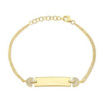 Yellow Gold & Diamond ID Bracelet