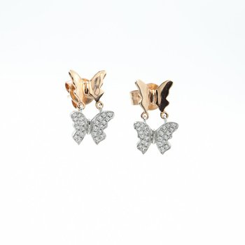 Two-Toned Diamond Butterfly Drop Earrings