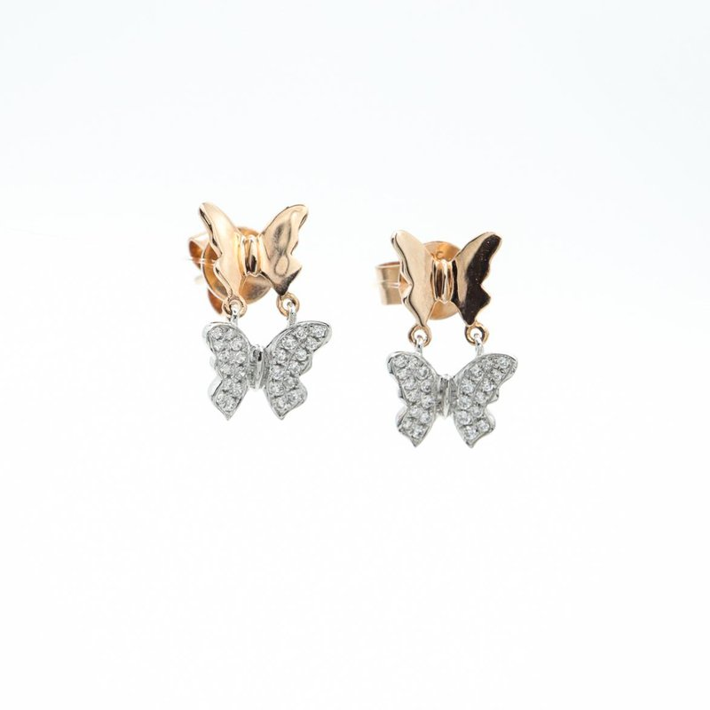Richardson Signature Two-Toned Diamond Butterfly Drop Earrings