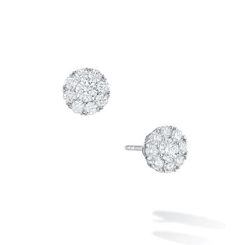 SNOWFLAKE- Round Diamond Stud Earrings