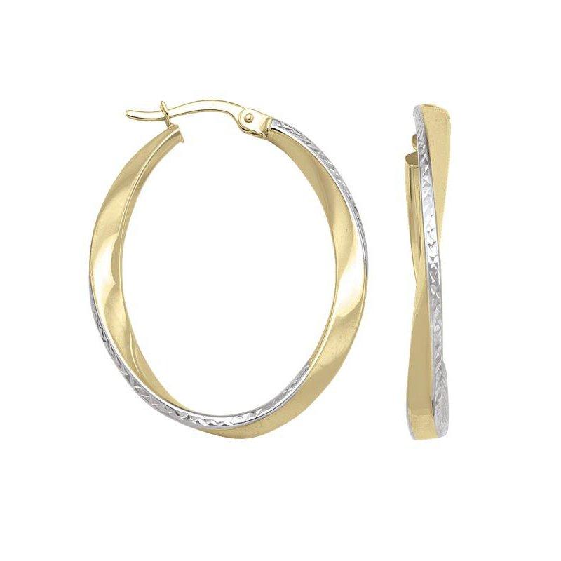 Richardson Signature 14K Two-Tone Hoop Earrings