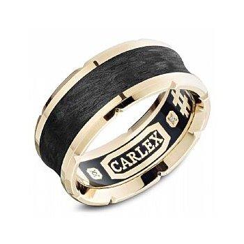 18K Yellow Gold & Black Carbon Band