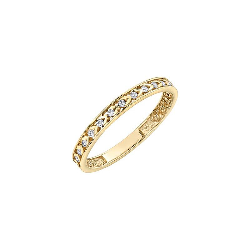 Diamond Days Yellow Gold Chevron Pattern Ring