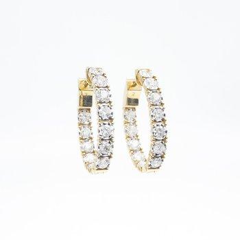 Yellow Gold Inside-Outside Diamond Hoop Earrings