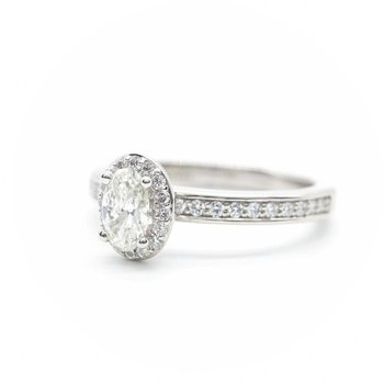 White Gold Oval Diamond Halo Ring