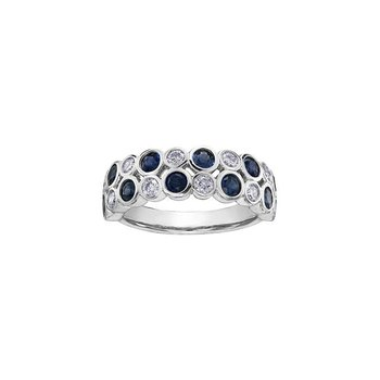 Two Row Bezel Set Sapphire & Diamond Ring