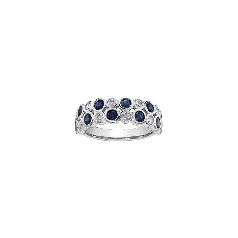 Diamond Days Two Row Bezel Set Sapphire & Diamond Ring