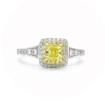 Tides of Love; Yellow Diamond Halo Ring