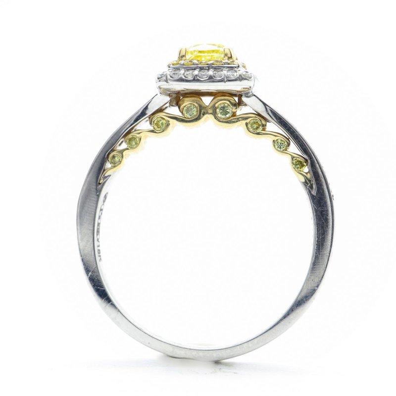 Maple Leaf Diamonds Tides of Love; Yellow Diamond Halo Ring
