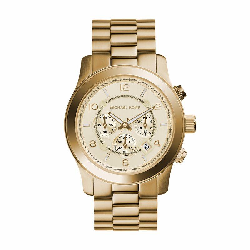 Michael Kors Runway Chronograph Gold-Tone Watch Mens