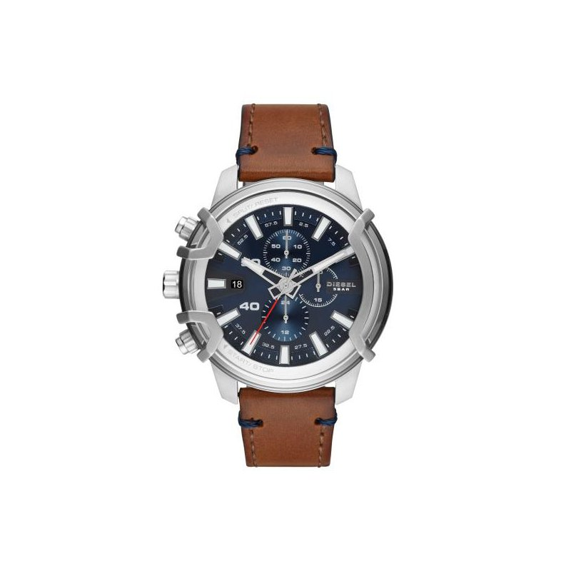 Diesel Griffed Chronograph Leather Strap Watch