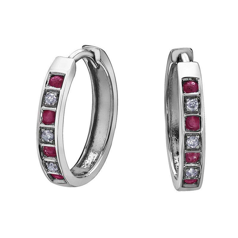 Forever Jewellery Ruby & Diamond Huggies