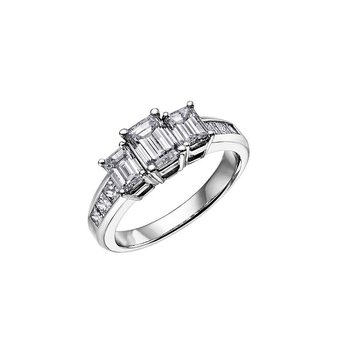 Three Stone Emerald- Cut Ring