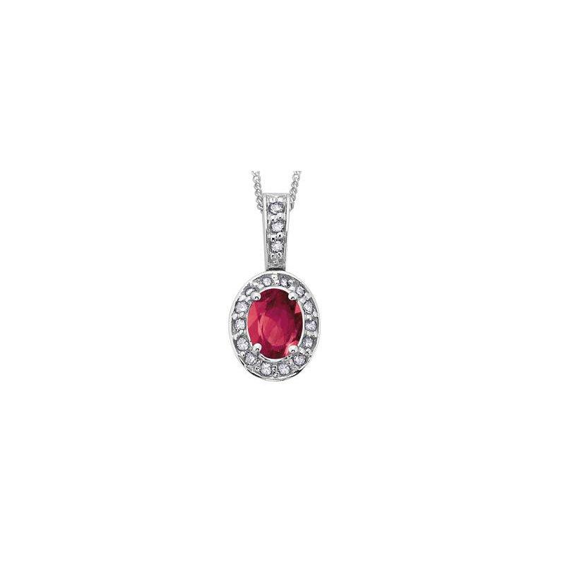 Diamond Days Ruby Halo Pendant