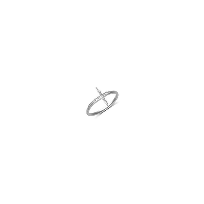 Kux Collection 10K White Gold Cross Ring