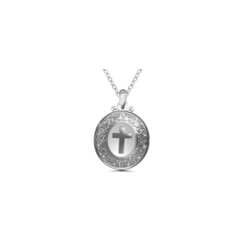 Sterling Silver Cross Locket Pendant