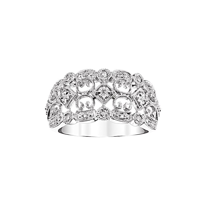 Kux Collection Sterling Silver Diamond Ring