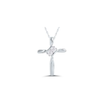10k White Gold Cross Necklace