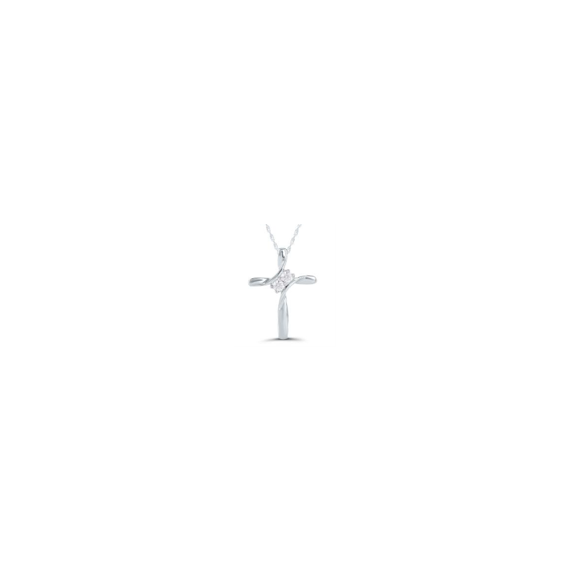 Kux Collection 10k White Gold Cross Necklace