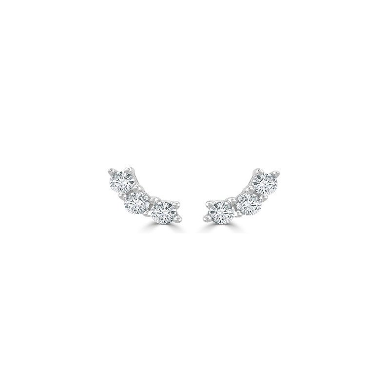 Kux Collection 14K White Gold Diamond Earrings
