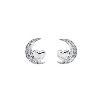 Crescent Moon with Heart Stud Earrings