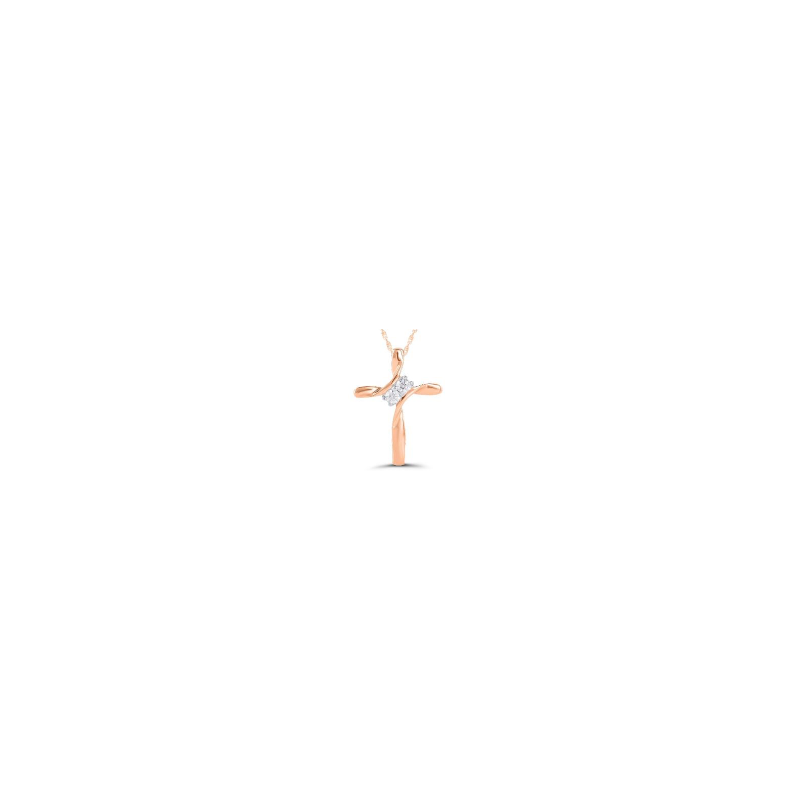 Kux Collection 10K Rose Gold Cross Necklace
