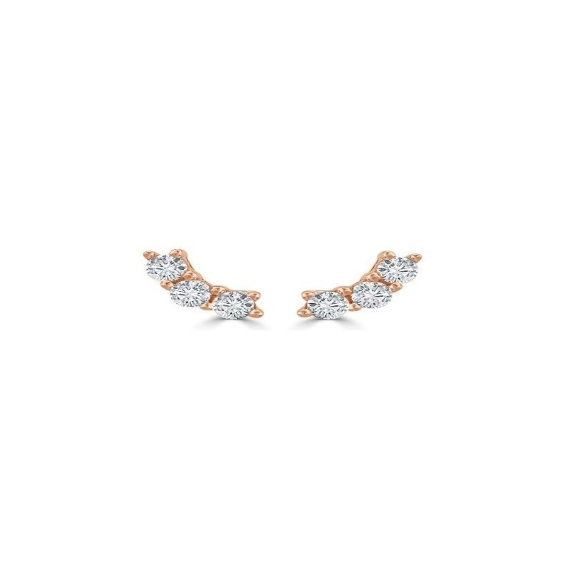 Kux Collection 14K Rose Gold Diamond Earrings