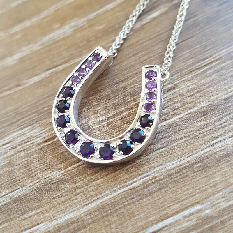 Arizona Amethyst™ Silver Jewelry Gradient Horseshoe Necklace