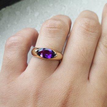 East-West Amethyst Ring