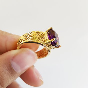 Vintage Arizona Amethyst Filigree Ring