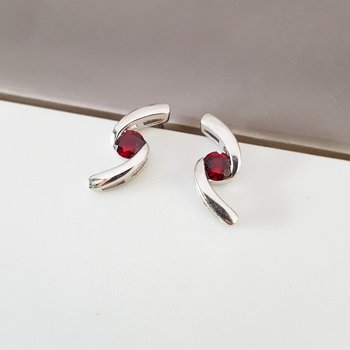 Garnet Swirl Earrings