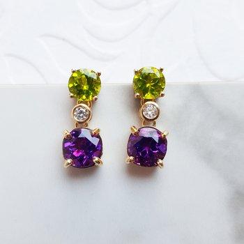 Amethyst and Peridot Dangle Earrings