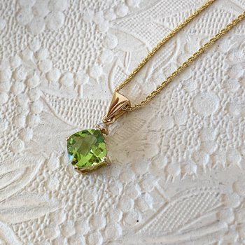 Cushion Peridot Pendant