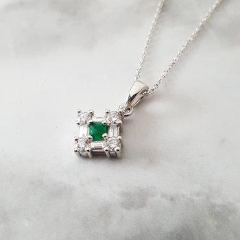 Square Emerald Pendant