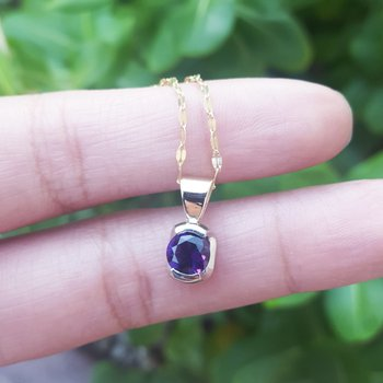 Amethyst Half Bezel Necklace