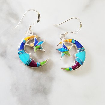 Multicolored Moon and Star Dangle Earrings