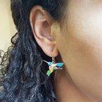 Arizona Turquoise and Inlaid Jewelry Colorful Hummingbird Earrings