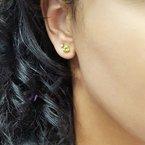 Arizona Peridot Gold Jewelry Trillion Stud Earrings