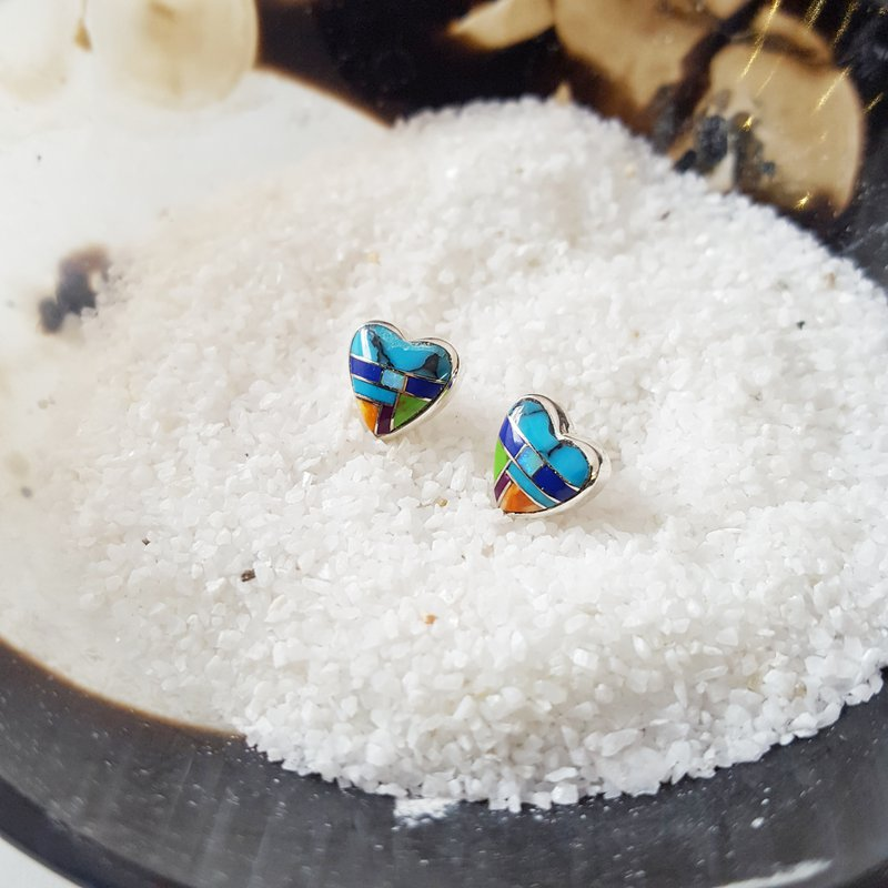 Arizona Turquoise and Inlaid Jewelry Colors of My Heart Studs