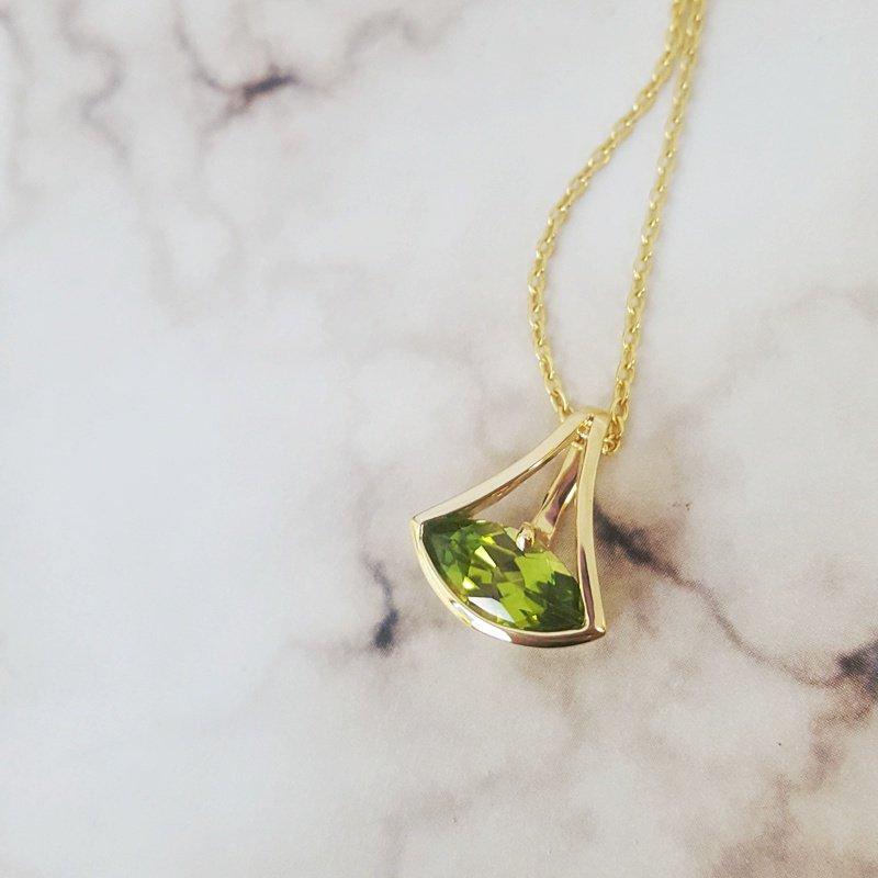 Arizona Peridot Gold Jewelry East West Marquise Pendant