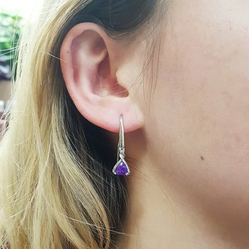 Amethyst Triangle Drop Earrings
