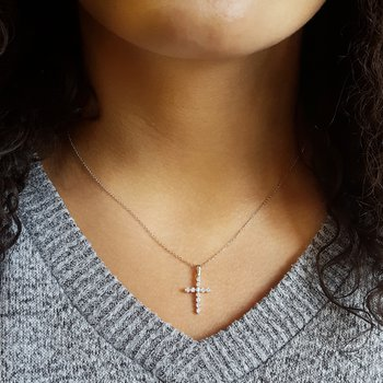Diamond Classic Cross Pendant in 14k White Gold (1/3 ctw)