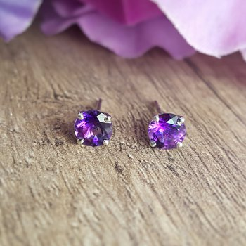 Amethyst 4 Prong Studs